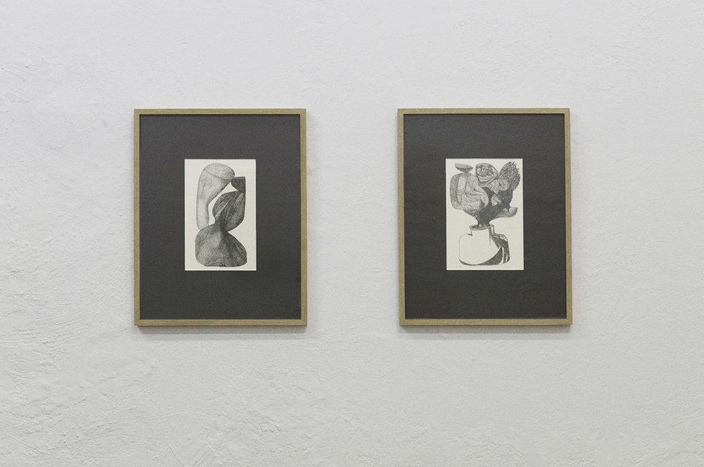 "Mekki Sebastian Brink ""Untitled 1"" and ""2 Drawing,"" 2018 (graphite on paper, 35,3x45,3 cm). Photo: Valérie Collart."