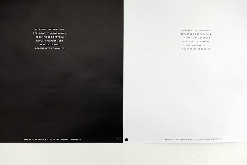 "Scott William Raby ""Nomadic Platform for Eco-Economic Futures� (detail of posters). Photo: Rikke Ehlers Nilsson."