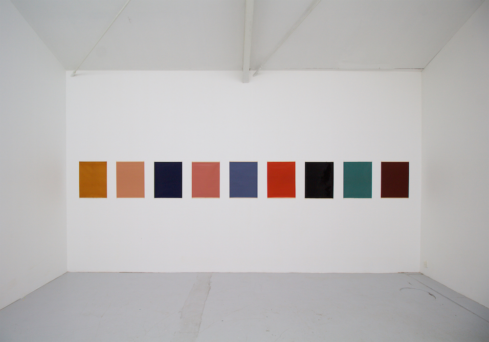 "Atsuo Hukuda ""colour and/or monochrome,� 2005-18 (Japanese paper, Japanese lacquer, Japanese natural pigments, each 59.5x45 cm). Photo: Karin Lind."