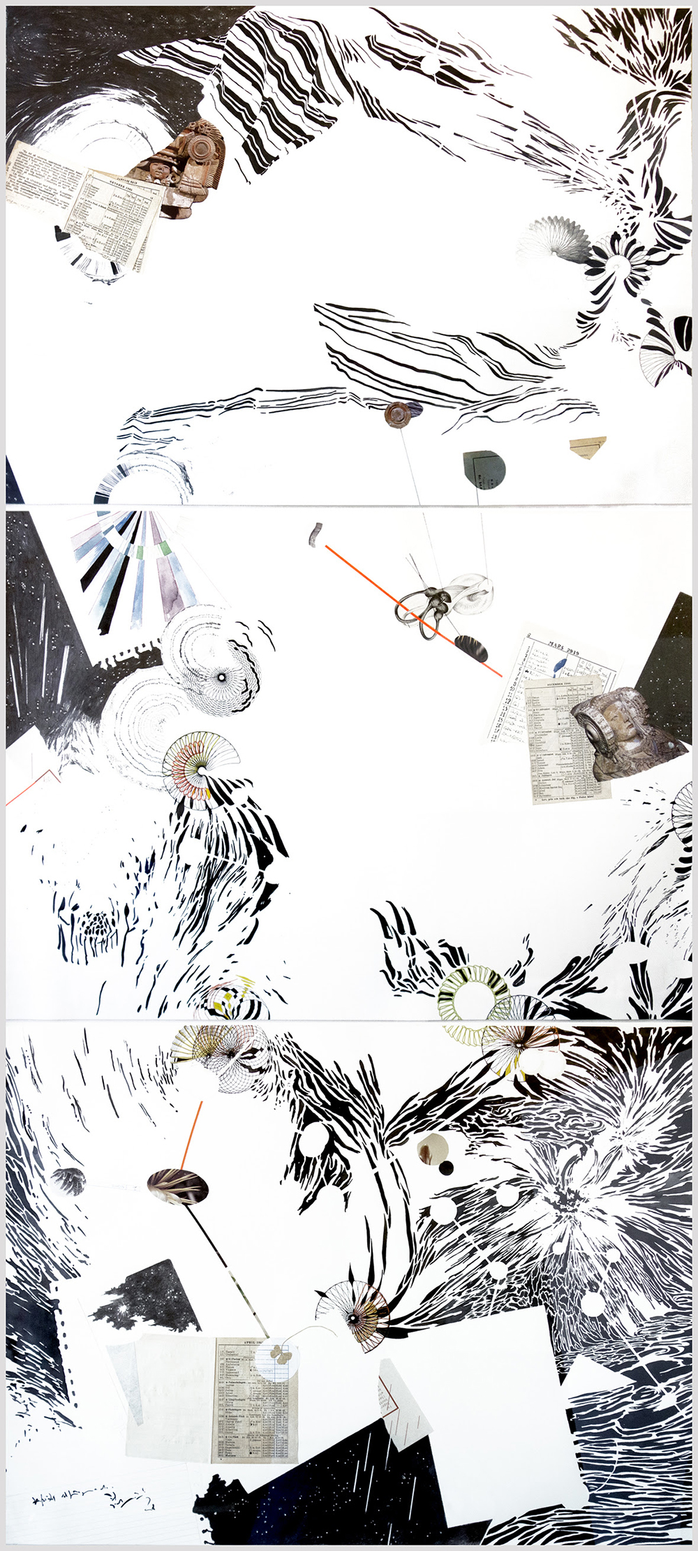 Helena Fernández-Cavada, Time appropriation. From the series Whatever I feel like. 3 pieces, 60 x 80 cm. Graphite, chinese ink, watercolor and collage on paper, 2017-2018.