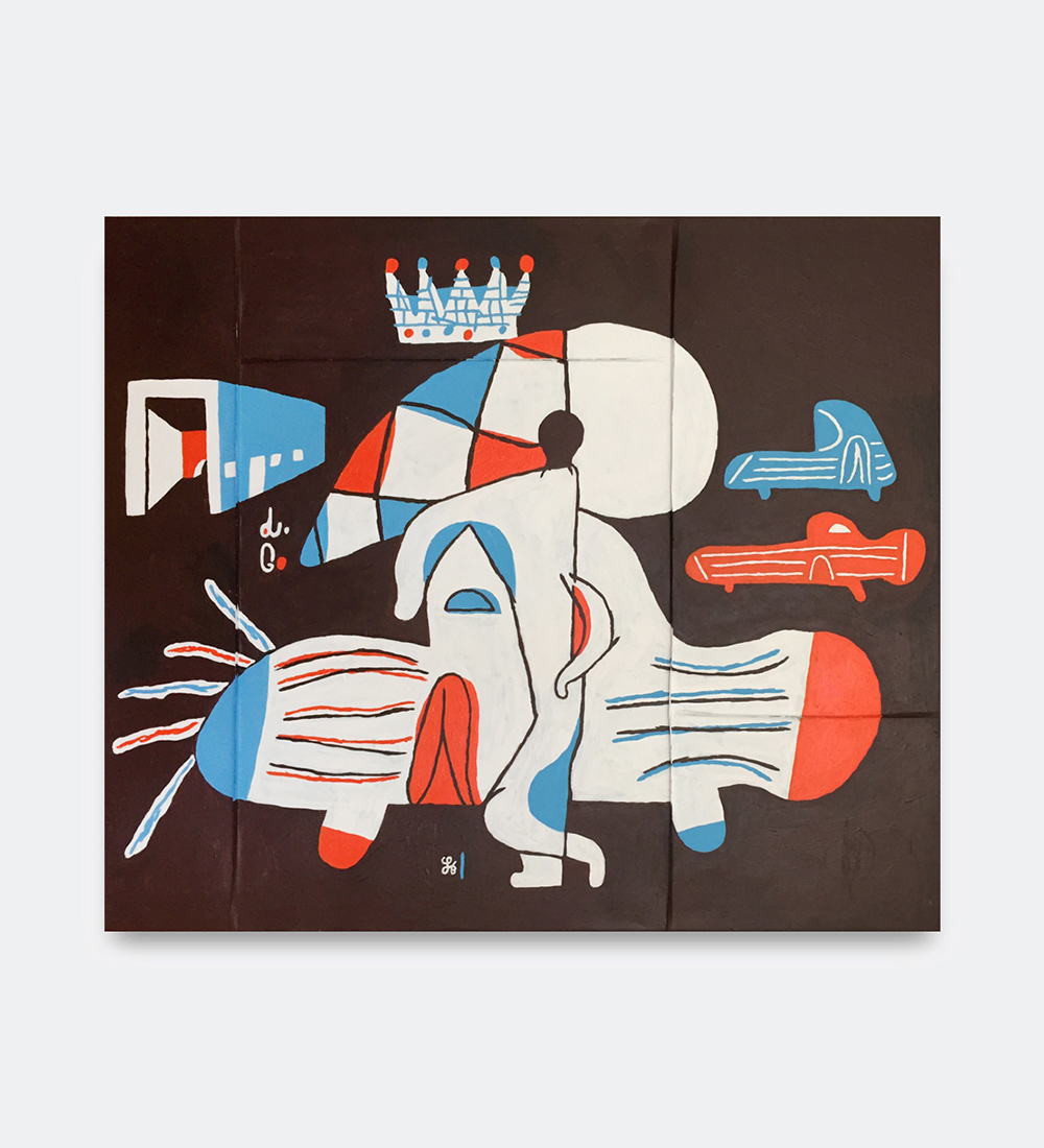 Søren Behncke, Car Cone King, 2018. Acrylic in canvas, 120 x 140 cm.