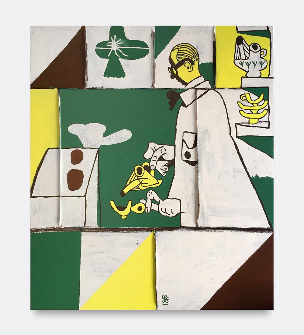 Søren Behncke, Le Corbusier, 2018. Acrylic on canvas, 140 x 120 cm.