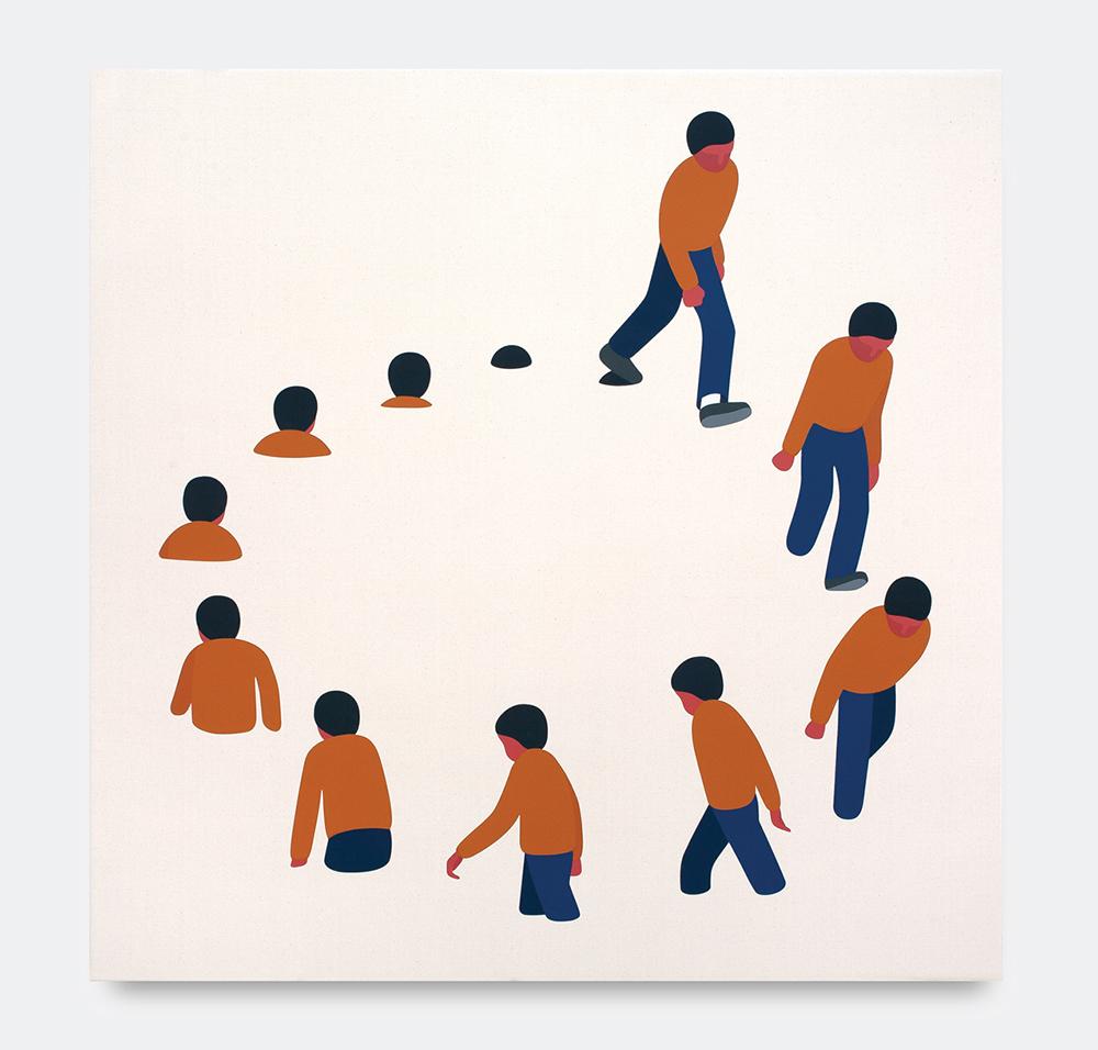 Geoff McFetridge, It's Not Getting Worse It's A Loop, 2018. Acrylic on canvas, 122 x 122 cm.