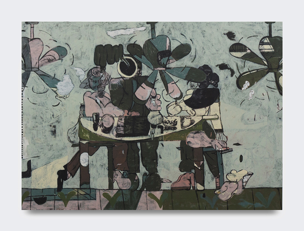 Mike S Redmond & Faye Coral Johnson, Bum Steer Heap, 2018. Acrylic, house paint and mixed media on canvas, 119 x 165 cm.