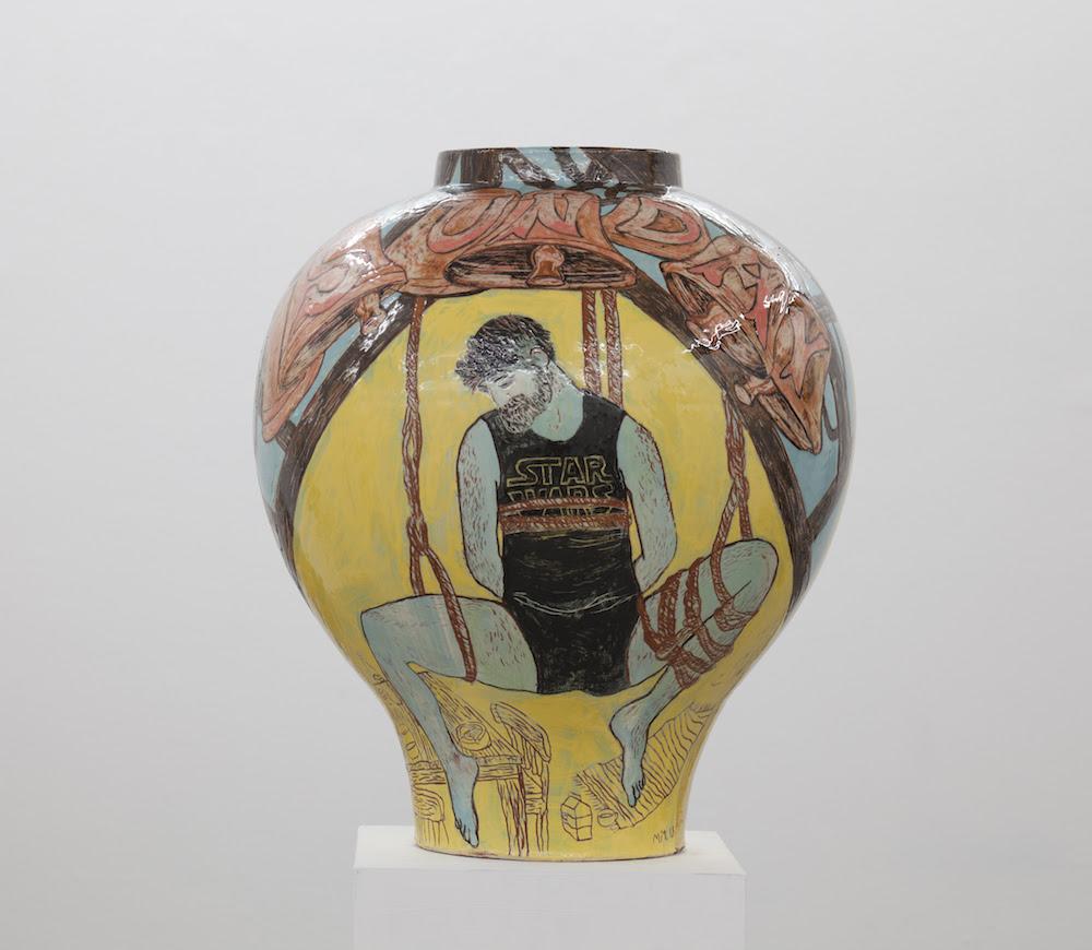 Mie Mørkeberg: Untitled, 2018. Glazed ceramics, H 55 / Ø 50 cm.