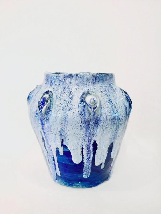 Klara Lilja: Hydropolis Vase - Nerae, 2018.  White clay, glaze (stoneware), 22 x 22 x 22 cm.