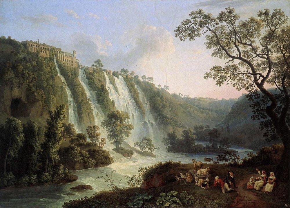 Mæcenas' enorme øko-hipsterkvarter i Tivoli, Italien. Det var muligvis her, han også byggede Roms første swimming pool. (Jacob Philipp Hackert, Villa of Maecenas and the Waterfalls at Tivoli, 1783).