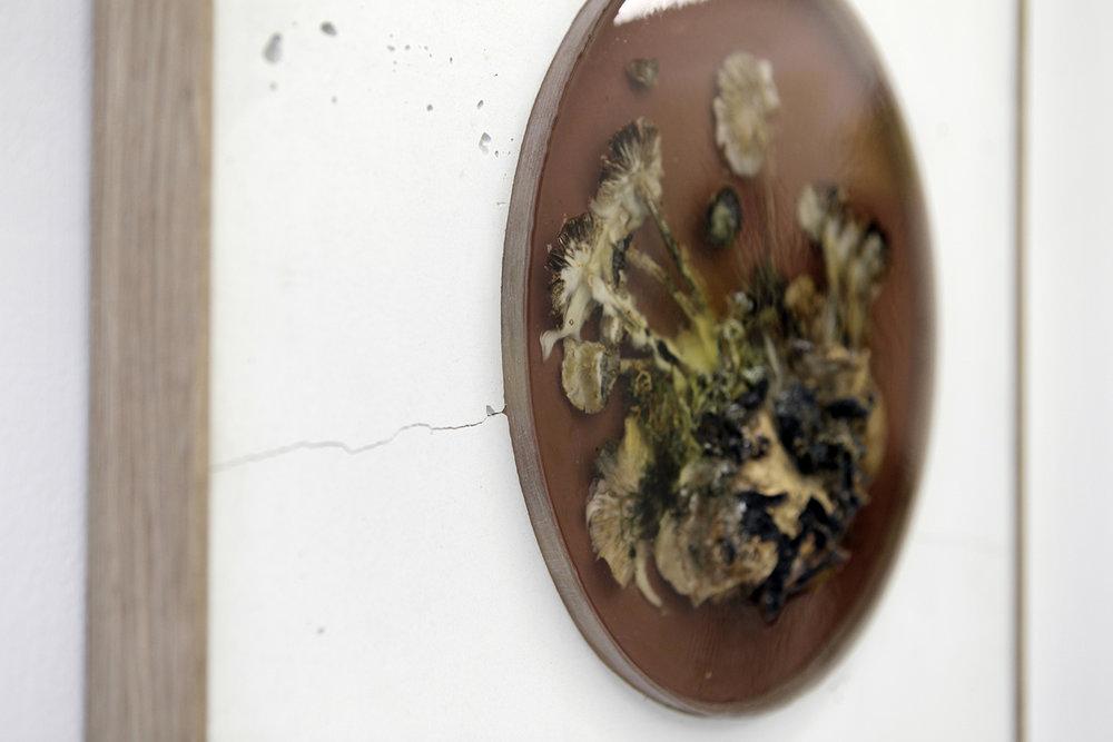 "Studio ThinkingHand ""Landscape Portrait #2,� 2018 (Epoxy resin, white cement, oak, acrylic paint, flora, fungi. Foraged September 2017 from Kongelunden, DK. 50(w) x 80(h) x 4(d) cm)."