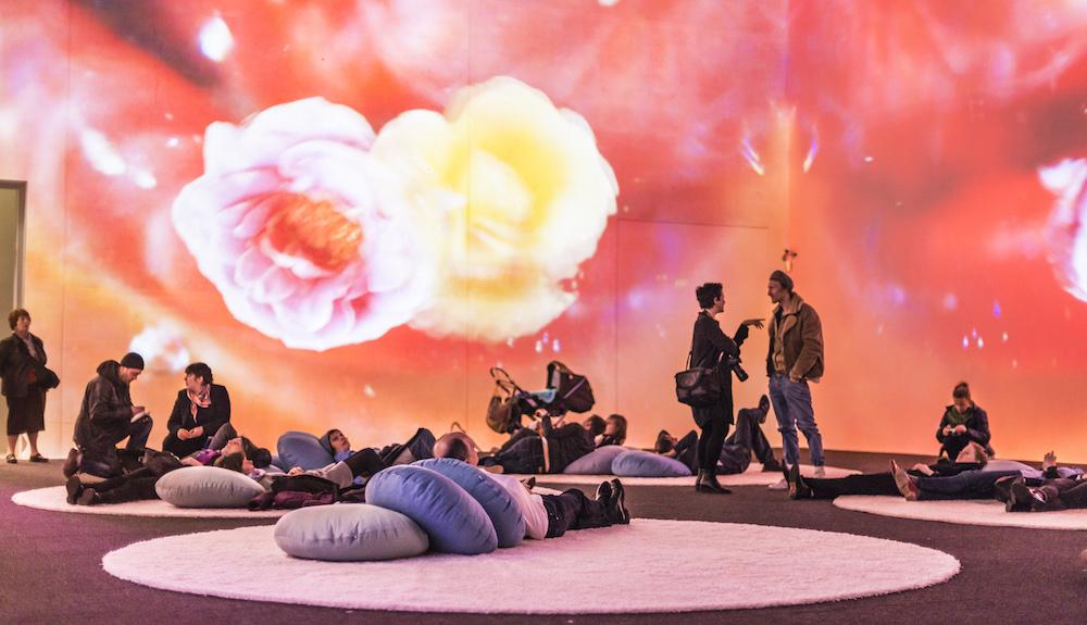 Pipilotti Rist. Mercy Garden, 2014, audio video installation. Installation view from 'Pipilotti Rist. Komm Schatz, wir stellen die Medien um & fangen nochmals von vorne an und an', Kunsthalle Krems, Krems, Austria, 2015. Photo: Lisa Rastl © Pipilotti Rist. Courtesy the artist, Hauser & Wirth and Luhring Augustine.