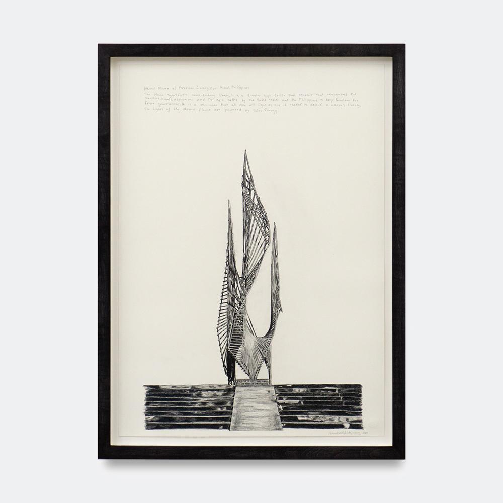 Hesselholdt & Mejlvang, Eternal Flame of Freedom, 2018. (Pencil on 250 gr Duria paper, 70 x 50 cm).