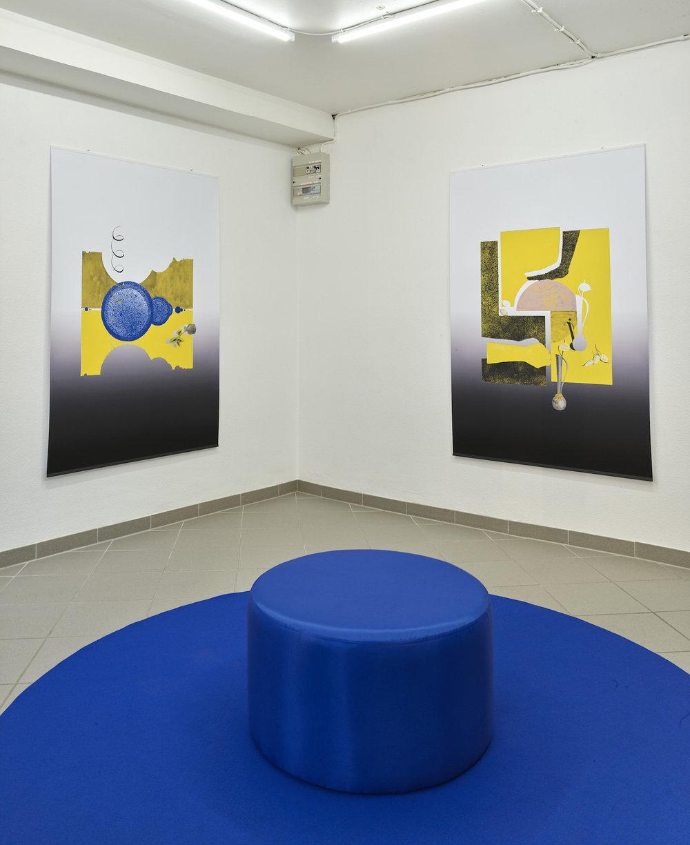 """Sonja Lillebæk Christensen (fra venstre) """"Blå cirkler, Coleus (plante som vender væk fra solen) i glasvase, spiral (666),"""" 2018 og """"En brudt cirkel, en vase, hænder og Judaspenge,"""" 2018. Foto: Kirstine Mengel."""