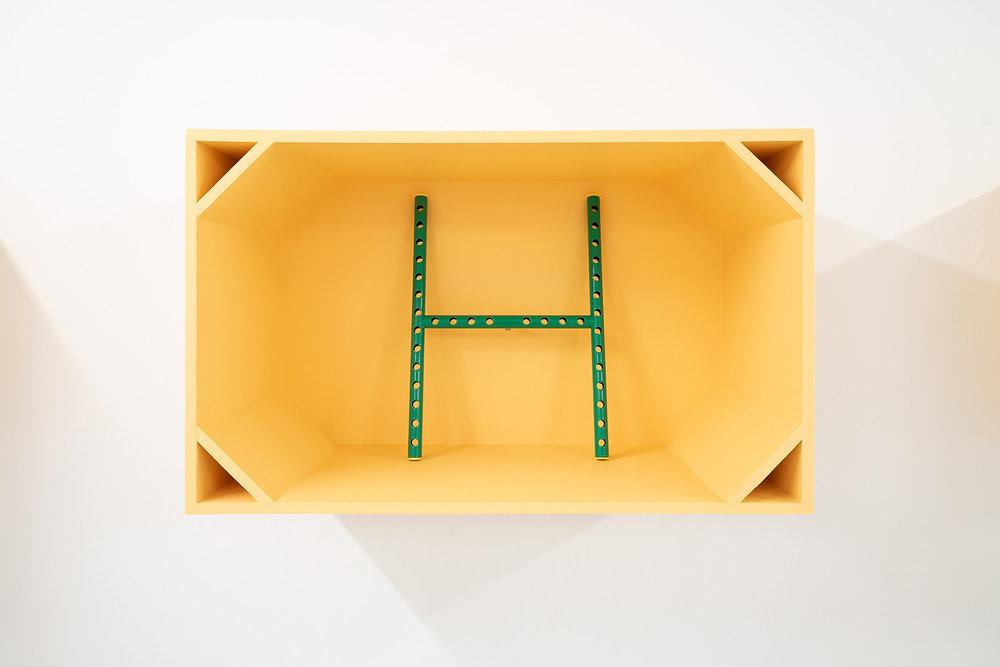 """Anne Mette Schultz """"Dimension Ex,"""" 2015 (Powder coated steel, plastic. 32,2 x 44 cm. Torso Cockpit: Plywood, acrylic paint. 80 x 49 x 35 cm)."""