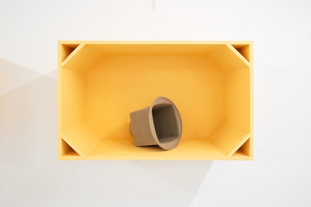 """Anne Mette Schultz """"Sun, Son, søn,"""" 2016 (Fur felt. Variable dimensions. Torso Cockpit: Plywood, acrylic paint. 80 x 49 x 35 cm)."""