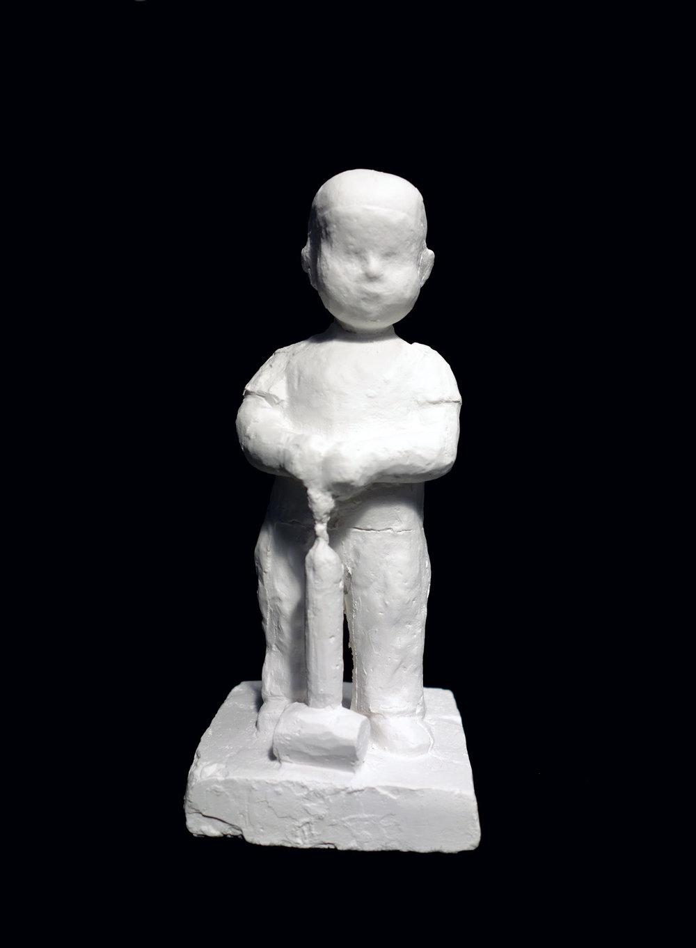 "Astrid Noack ""Boy with insect sprayer"" (Gypsum, 15cm, original was from 1938). This new-casting from 2015 comes in 25 numbered copies. Produced to raise supporting funds for A.N.A. Courtesy of Nina J Gallery, Copenhagen. Photo by THE WINTER OFFICE, 2019."
