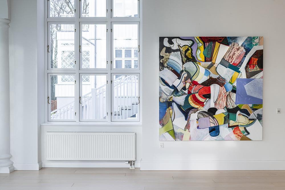 Lars Nørgård Flag, 2018 (akryl og olie på lærred, 180x180 cm). Foto: Andreas Bastiansen.