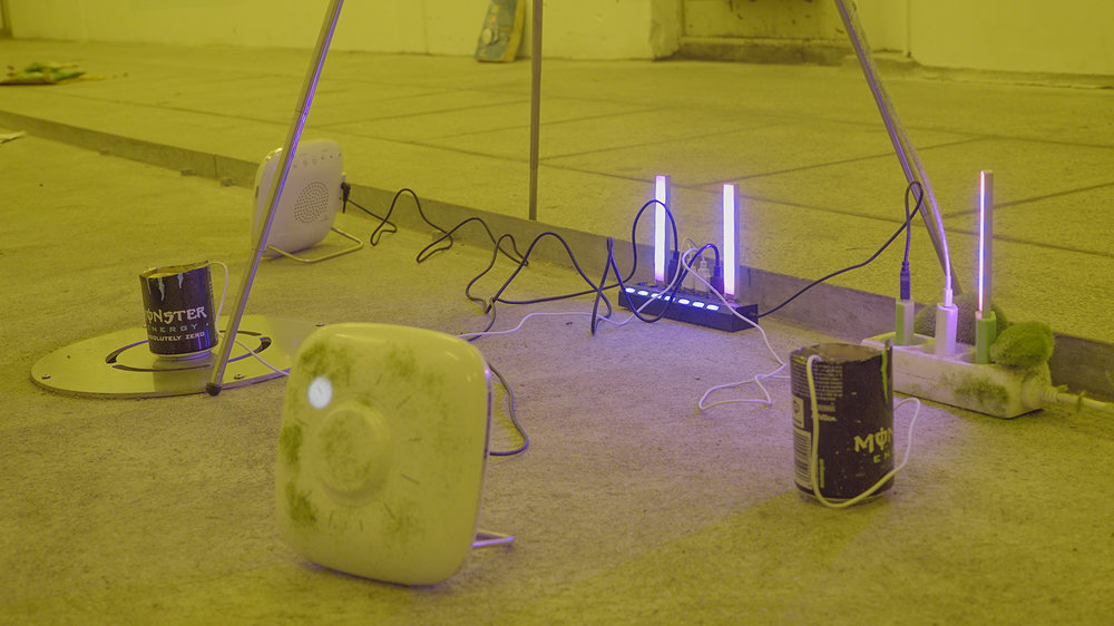 """Theodor Præst Nymark Jensen """"System of Nature"""" (detail), 2018 (Tripod, Iphone 6 with charger (playing demo video from Openworm), sleeping machine 2X, faux grass, faux moss stone, humidifier, Monster Energy, grow light, USB splitter). Photo: Frej Volander & Theodor Præst Nymark Jensen."""