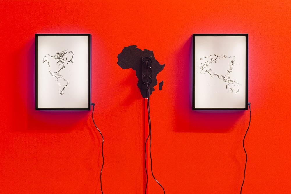 "Khalid Albaih ""Africa light,"" 2018. Photo: Mads Holm."