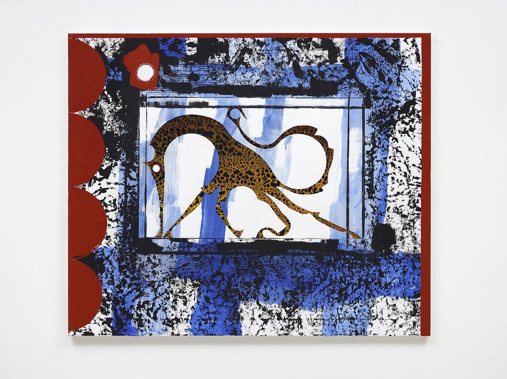 "Alfred Boman ""House of the Dying Giraffe,� 2019 (121 x 101cm). Foto: David Stjernholm."