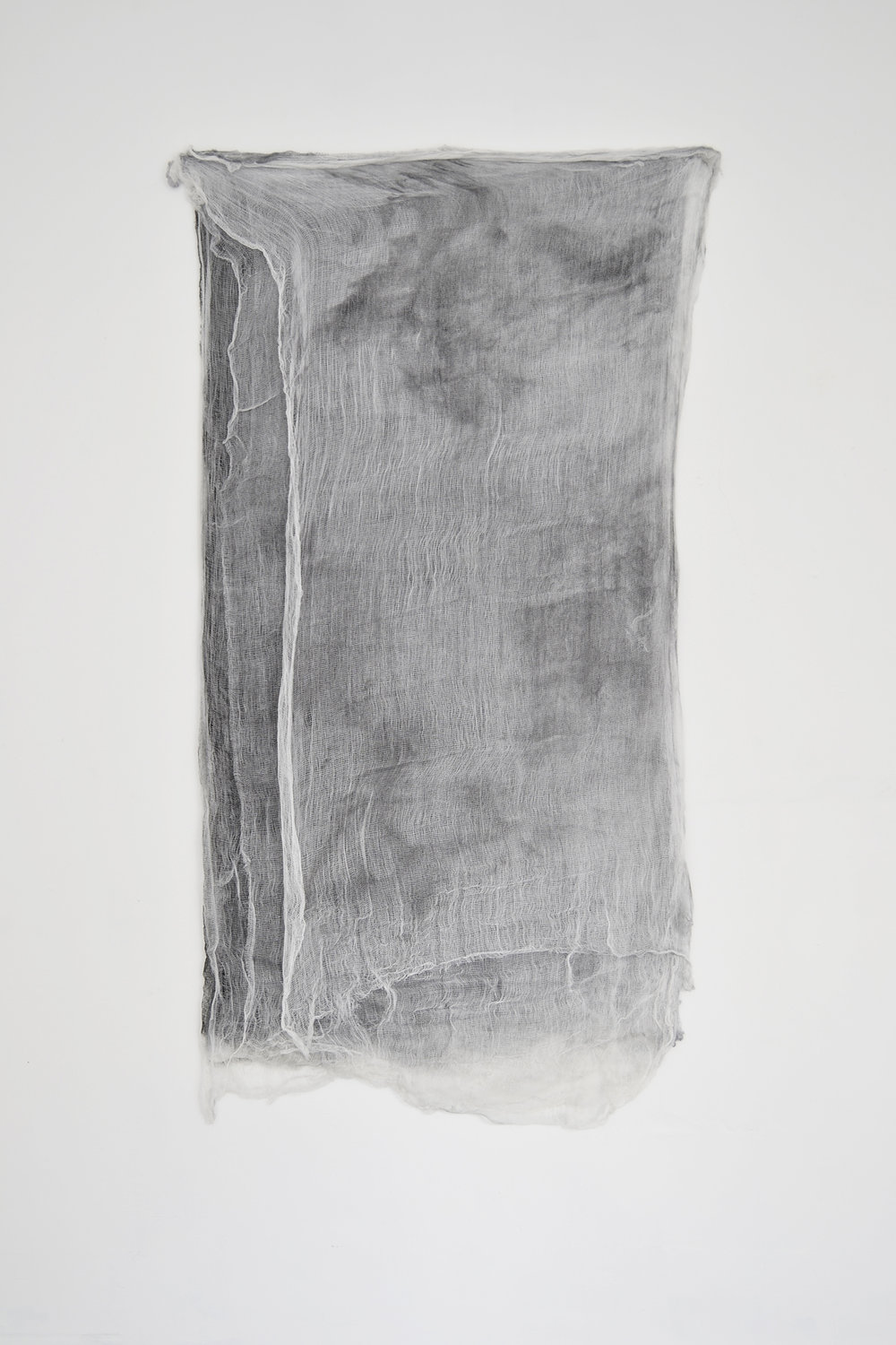 """Alessandro Moroder """"Ten Sheets Of Used Cloth,� 2015 (enamel and dirt on cheese cloth, 170x84cm)."""