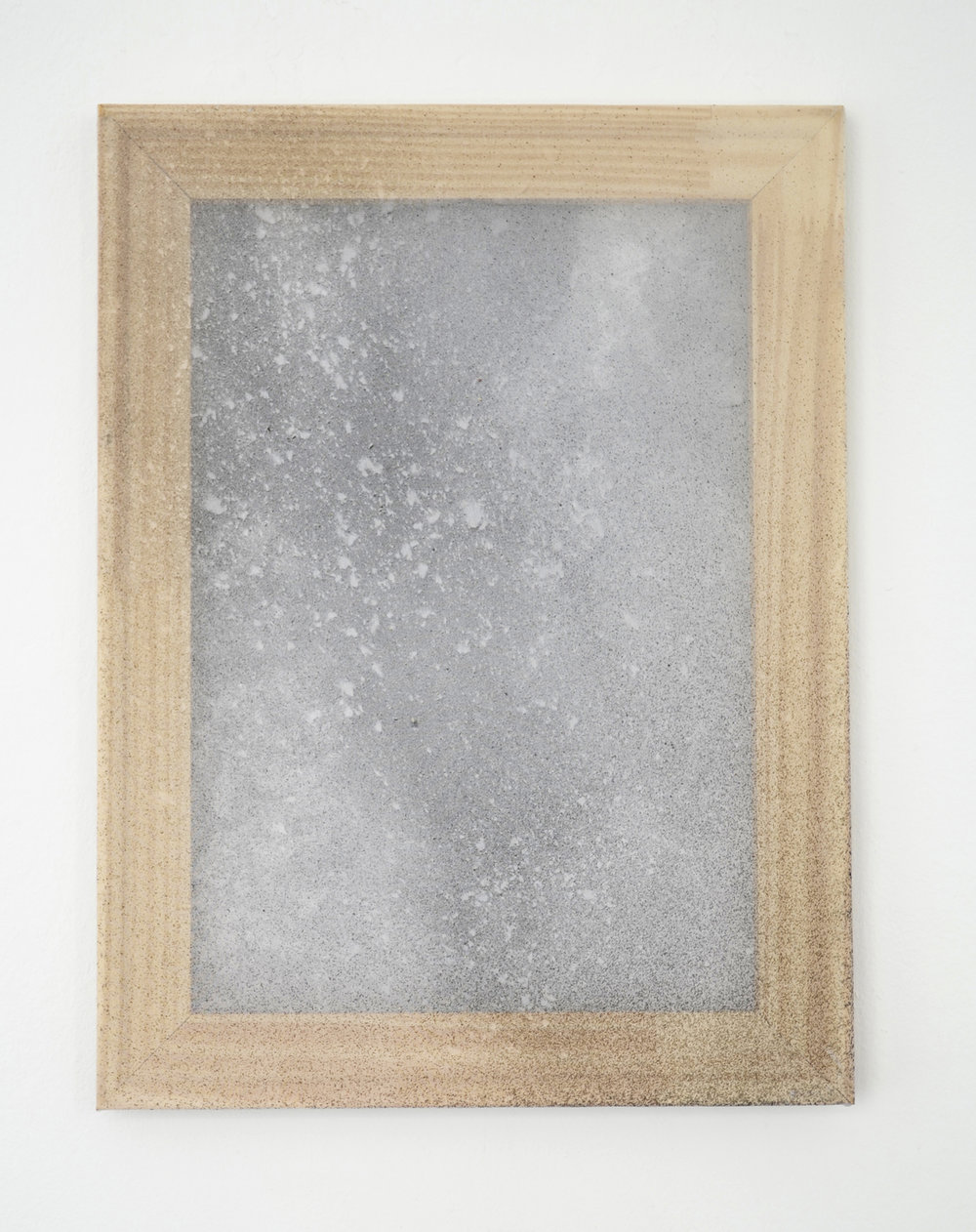 "Alessandro Moroder ""Untitled (Silk Chiffon #6),� 2019 (enamel and dirt on silk chiffon, 40x30cm)."