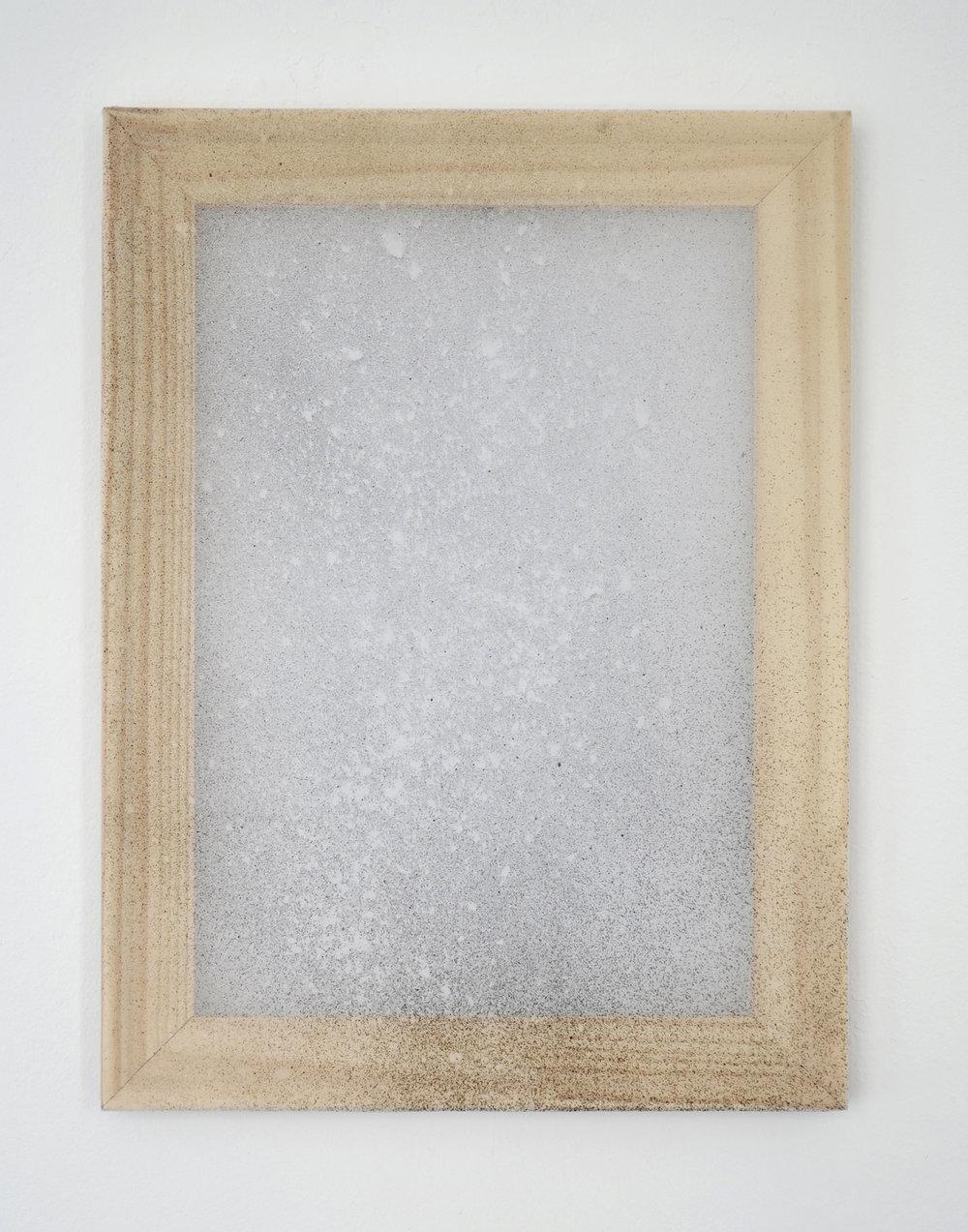 "Alessandro Moroder ""Untitled (Silk Chiffon #3),� 2019 (enamel and dirt on silk chiffon, 40x30cm)."
