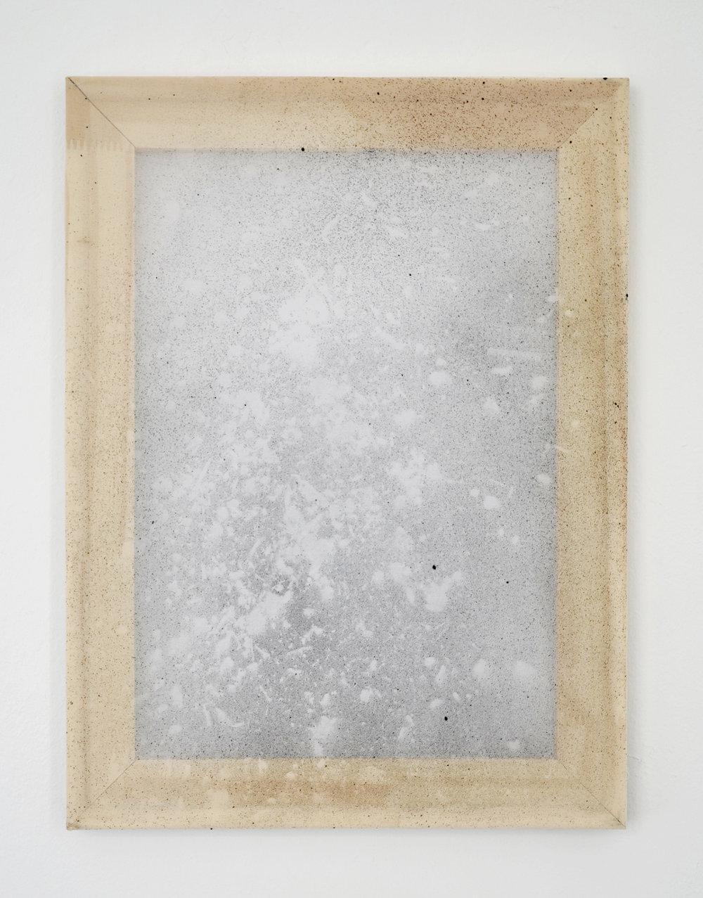 "Alessandro Moroder ""Untitled (Silk Chiffon #4),� 2019 (enamel and dirt on silk chiffon, 40x30cm)."