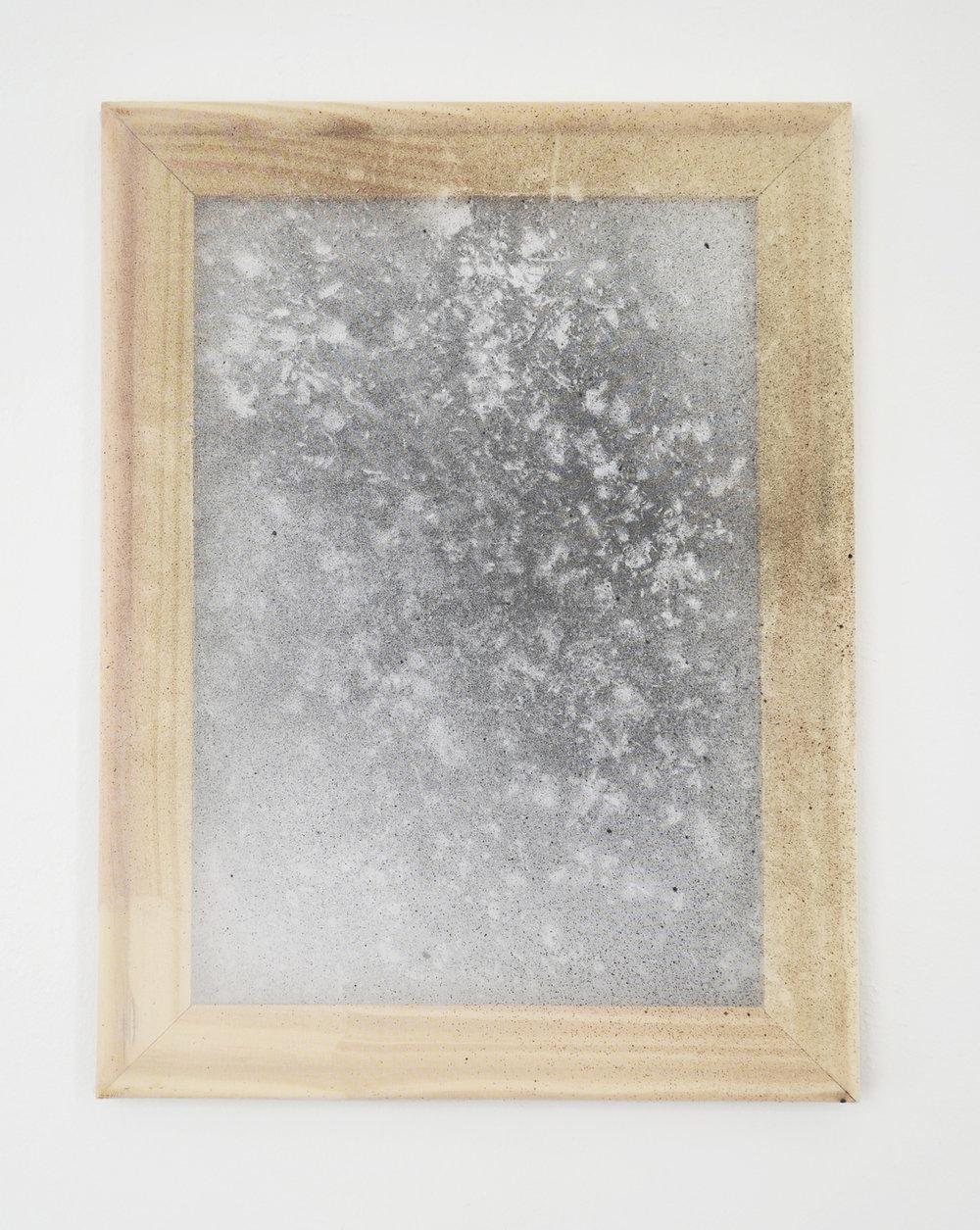 "Alessandro Moroder ""Untitled (Silk Chiffon #1),� 2019 (enamel and dirt on silk chiffon, 40x30cm)."