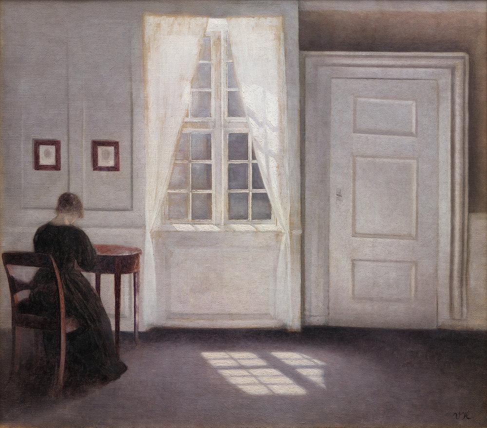 Vilhelm Hammershøi, Stue i Strandgade med solskin på gulvet, 1901. SMK.