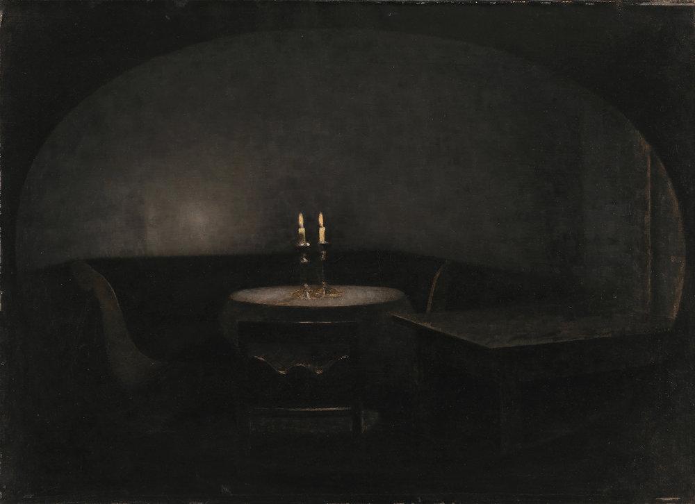 Vilhelm Hammershøi, Interiør. Kunstigt lys, 1909. SMK.
