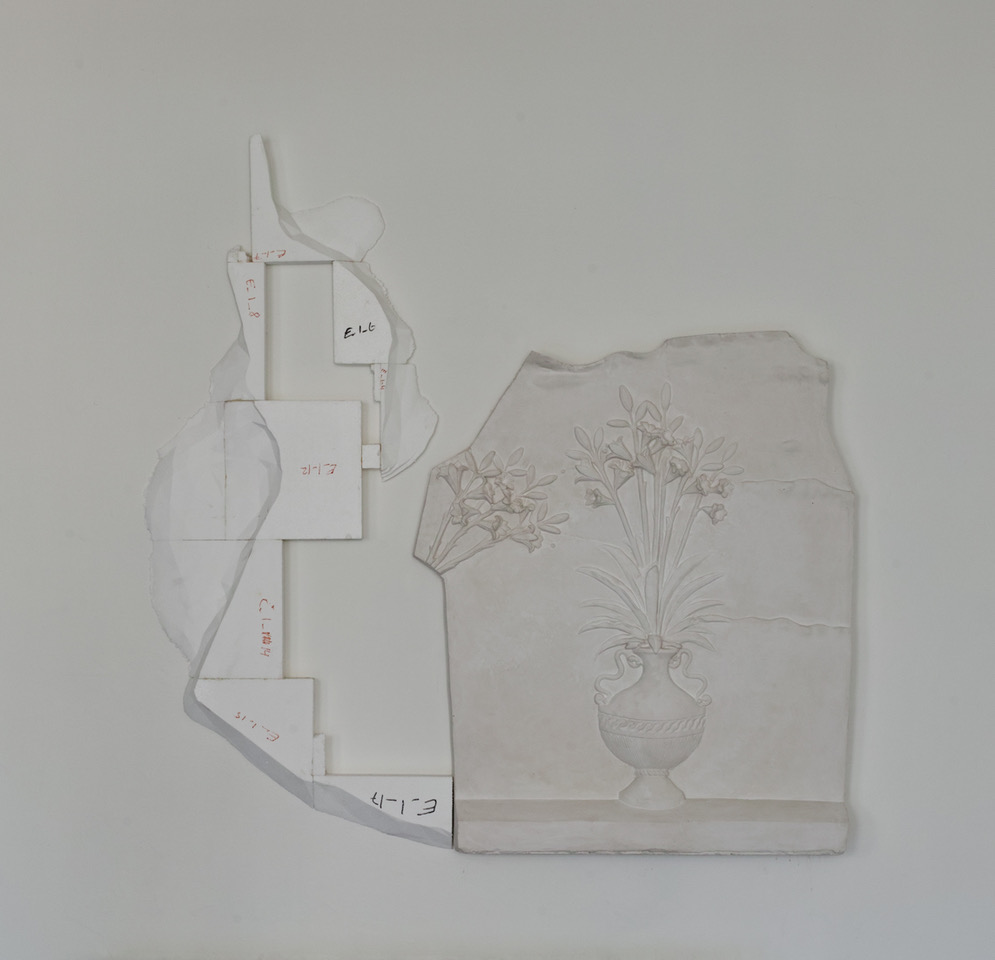 "Fredrik Tydén ""The Quiet Approach,"" 2019 (plaster, polystyrene, 132 x 134 x 9,5 cm). Photo: Jakob Emdal."