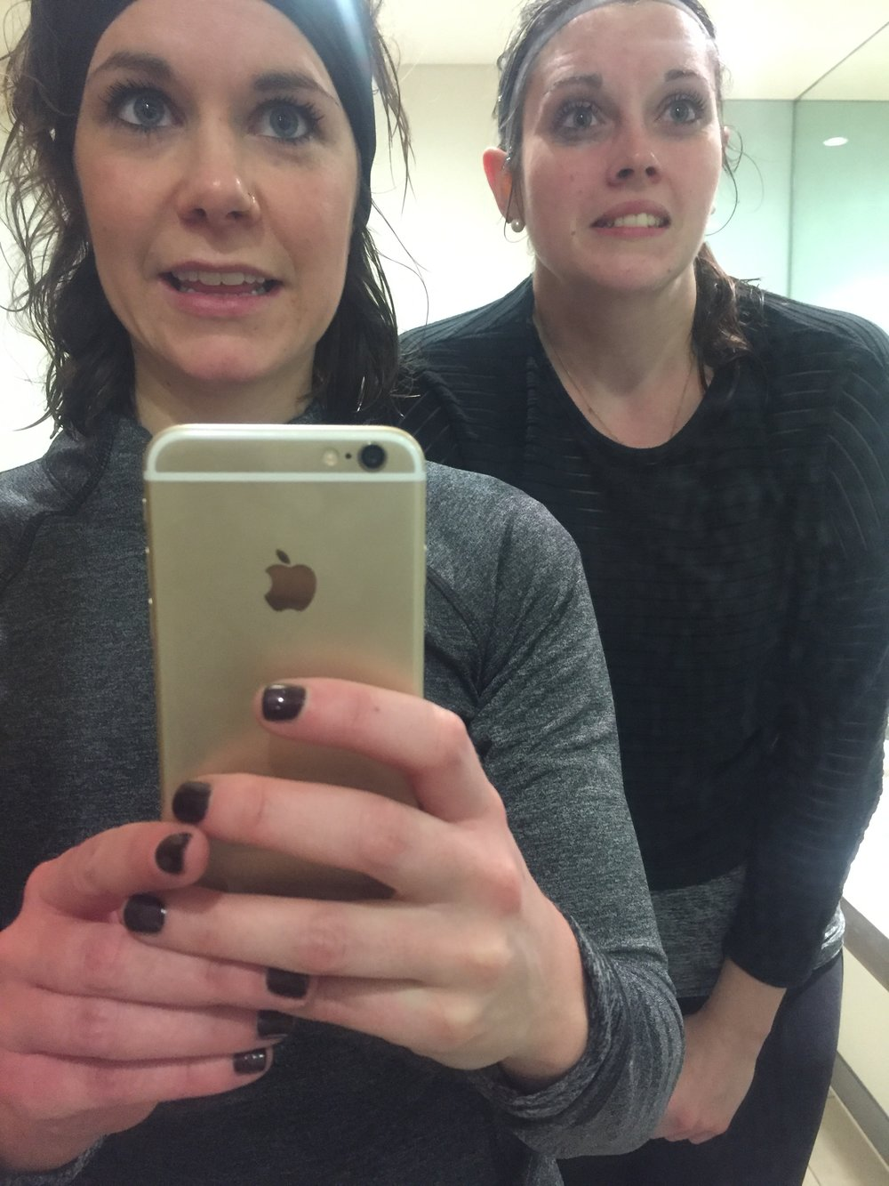 Megan and I after a particularly wet run in the Spring. Mascara lines and all.
