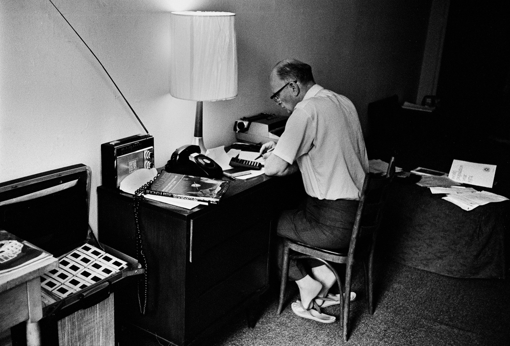 Arthur C Clarke  at his desk