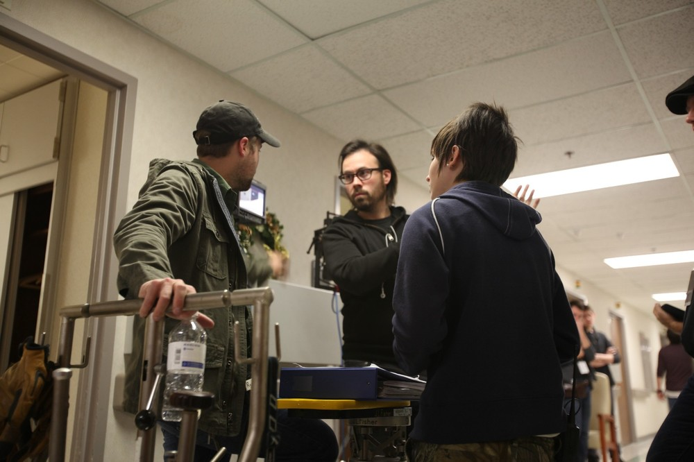 Blake McClure (right) and I discuss a shot on set
