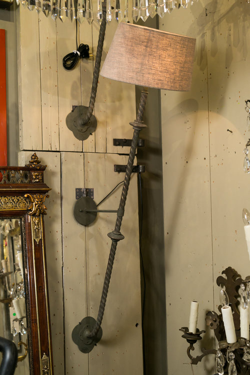 Pair of Antique Bronze Sconces with Shades