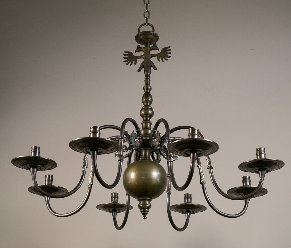Bronze Flemish Style Chandelier for Candles, circa 1940