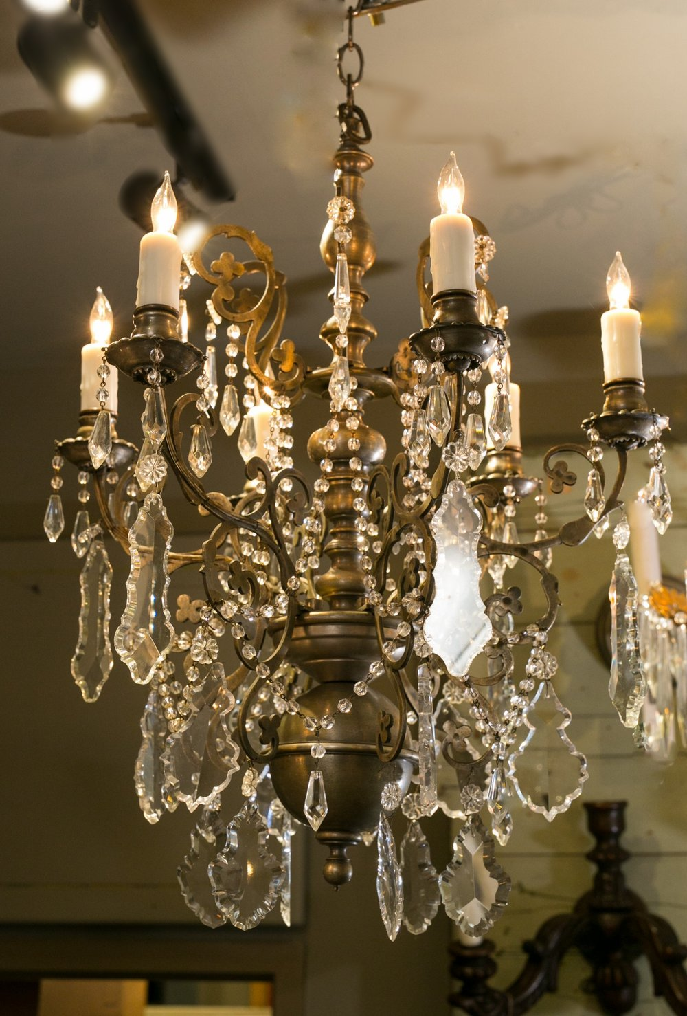 Vintage Pewter and Crystal Chandelier