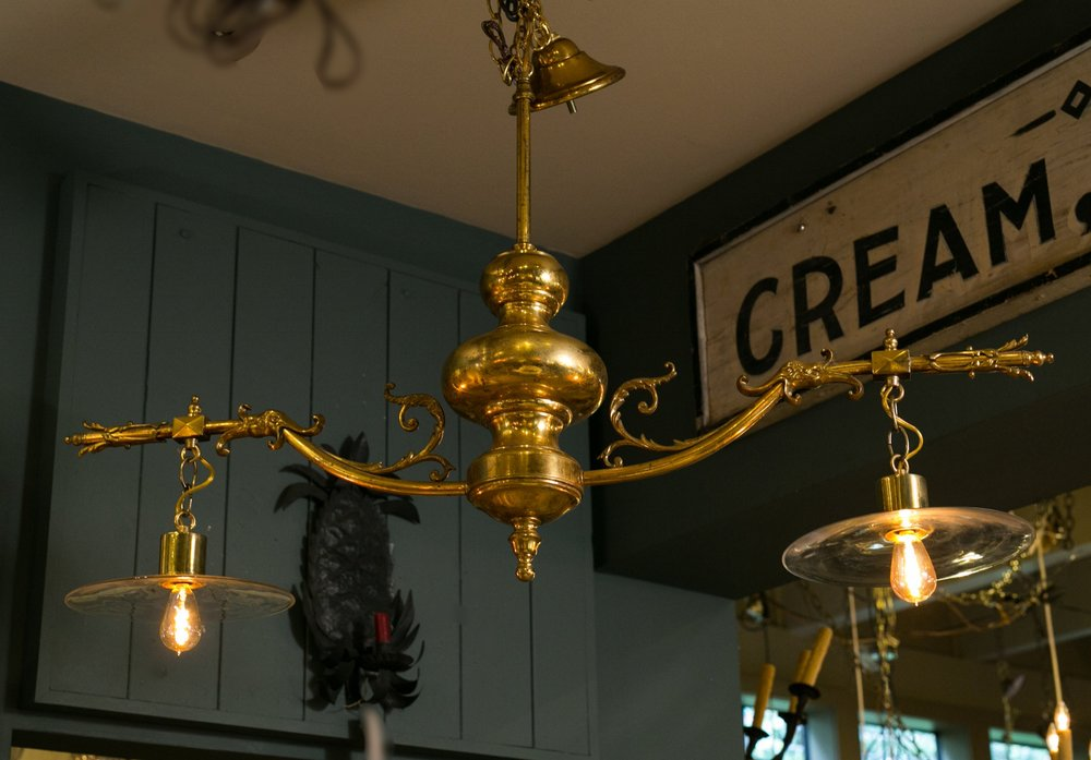 Vintage Brass and Glass Light