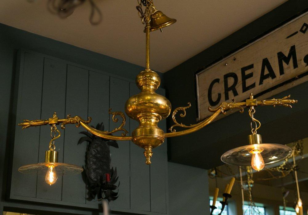 Vintage Brass and Glass Island/Billiard Light