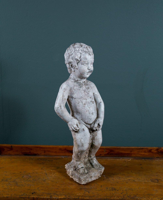 Antique Concrete Garden Statue of Nude Boy from Belgium, circa 1900