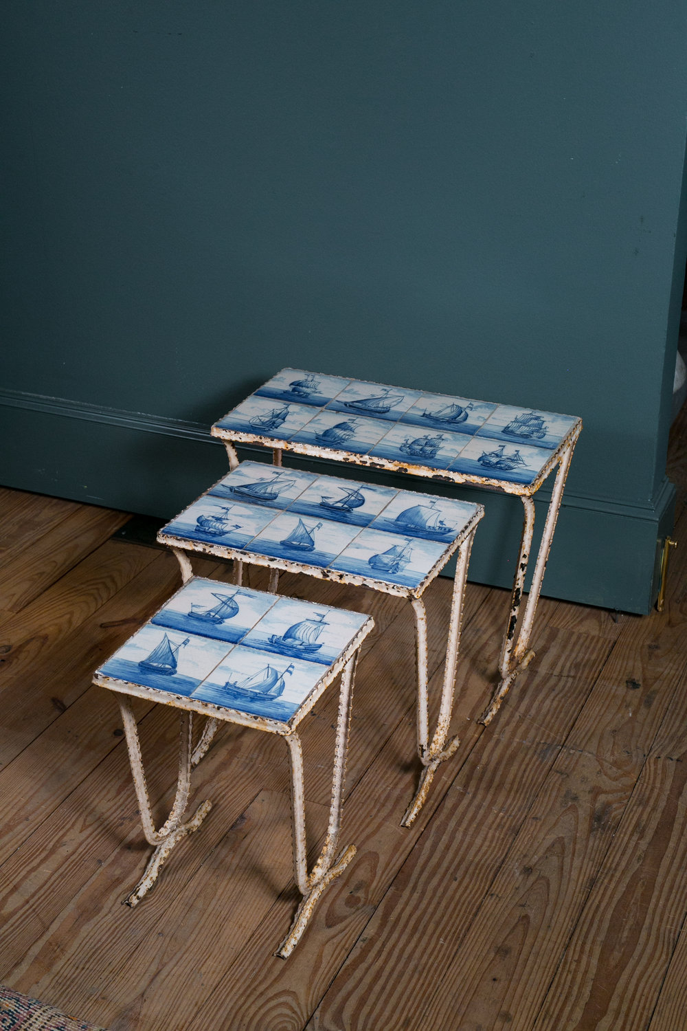 Vintage Delft Nesting Tables from Belgium
