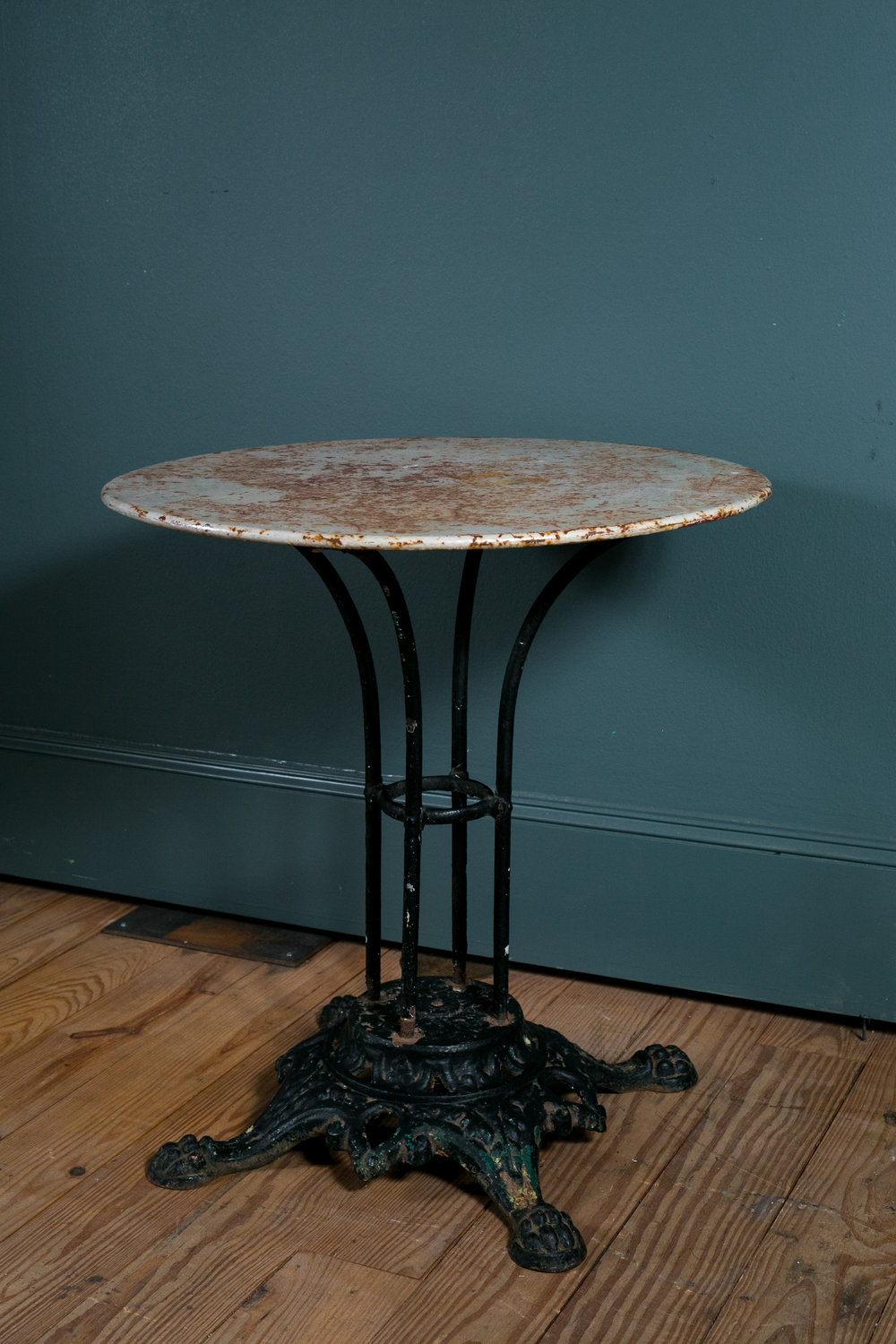 French Iron Bistro Table with Painted Top and Paw Foot Cast Iron Base circa 1890