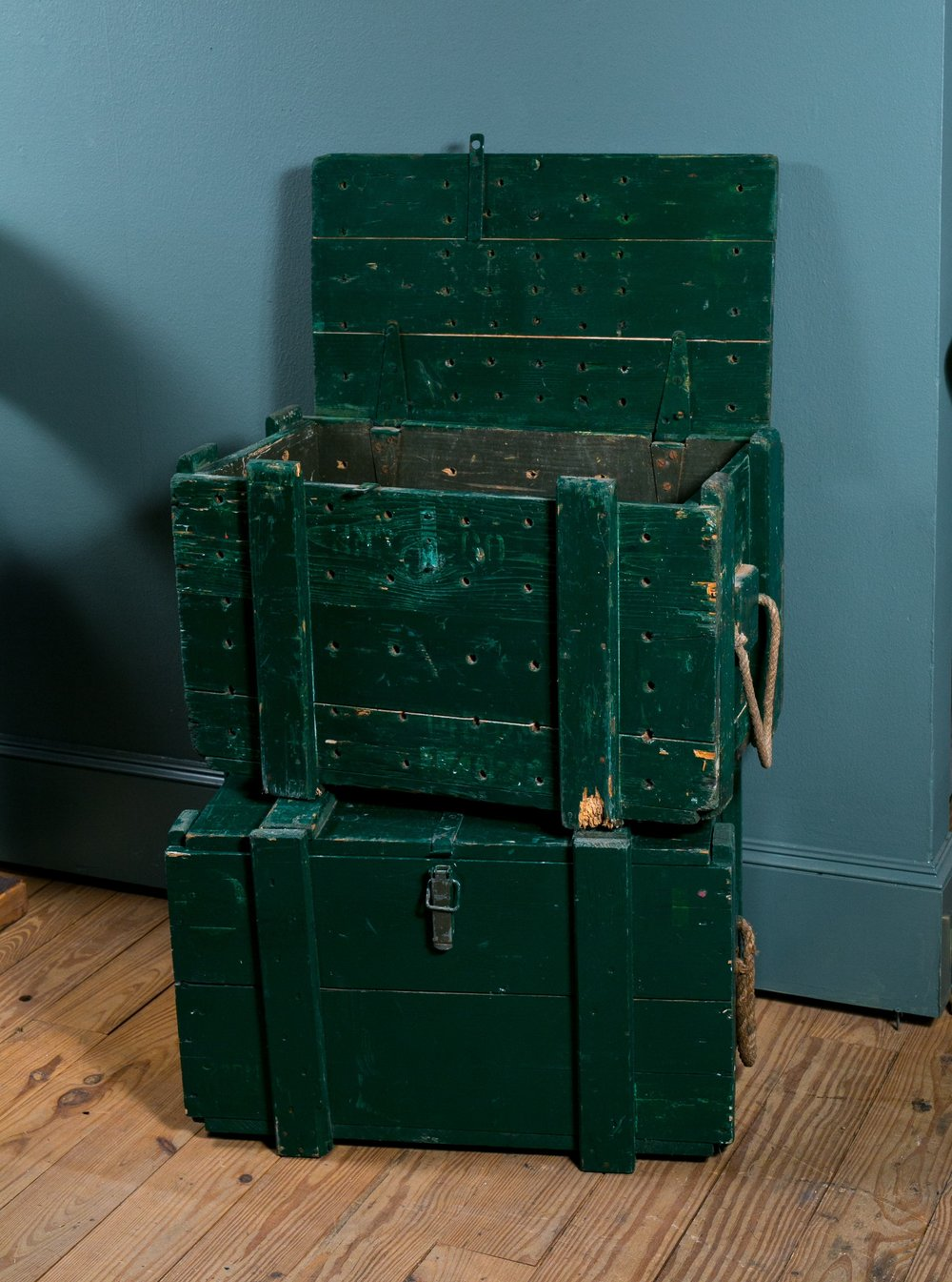 Vintage Painted Wooden Trunks