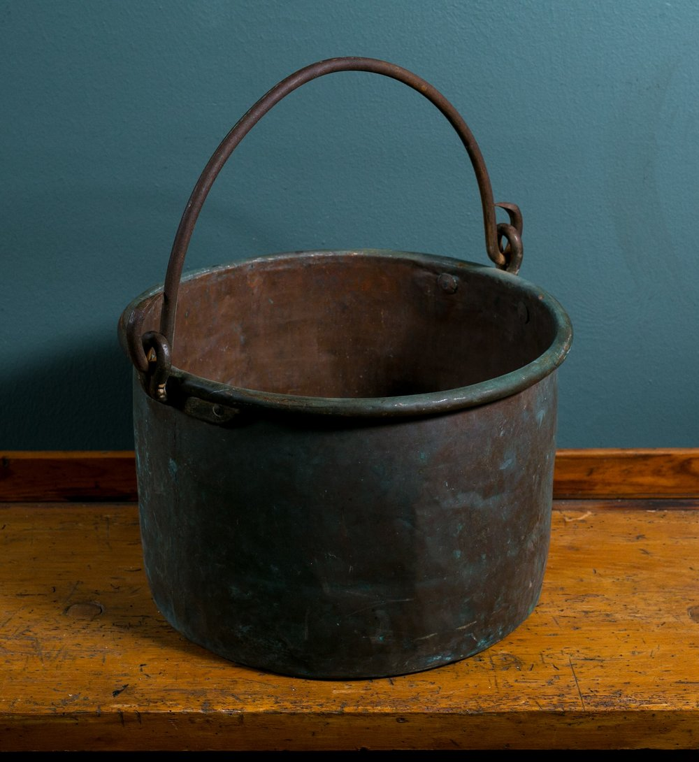Antique Copper Pot with Iron Handle