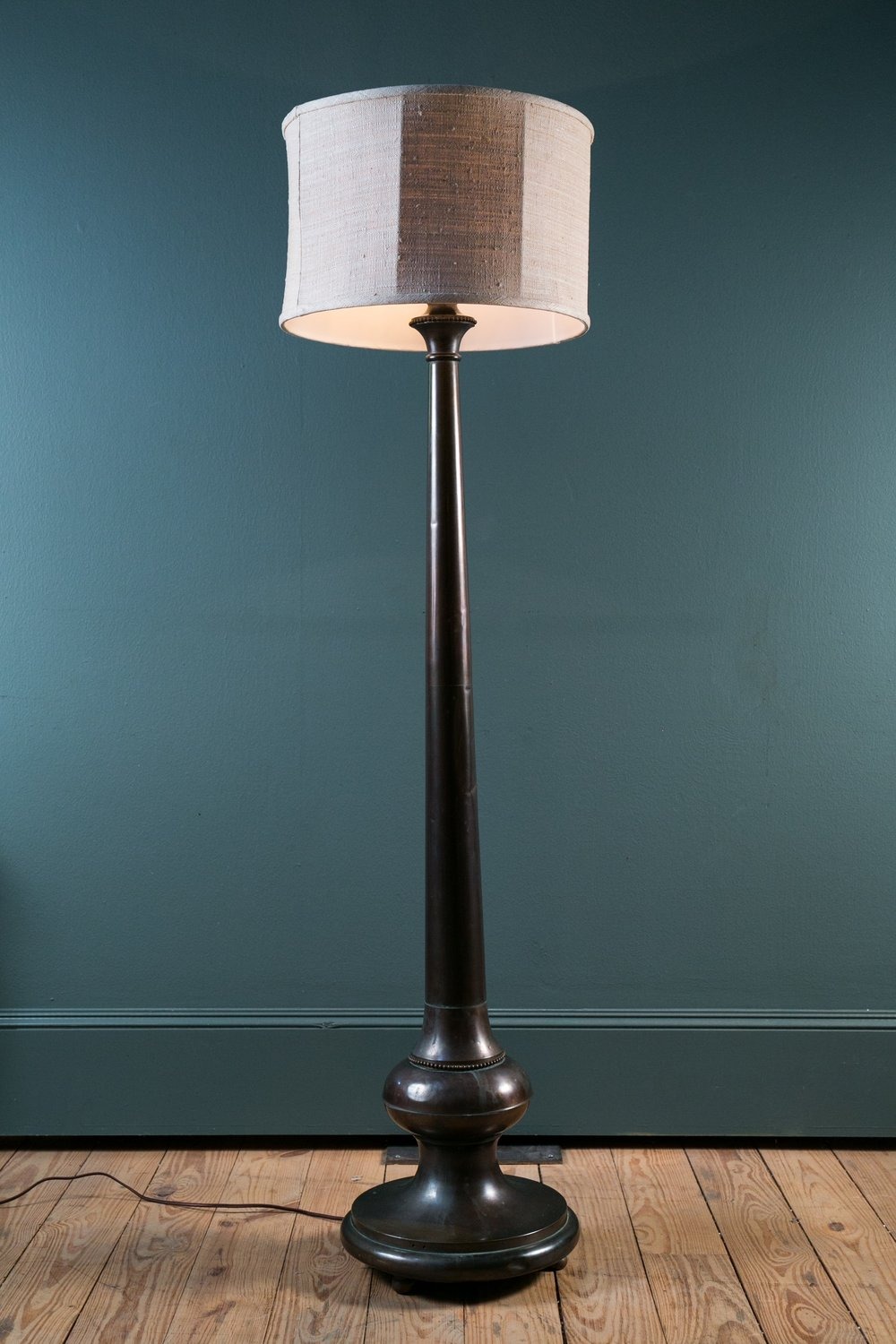 Antique Bronze Floor Lamp with Silk Shade