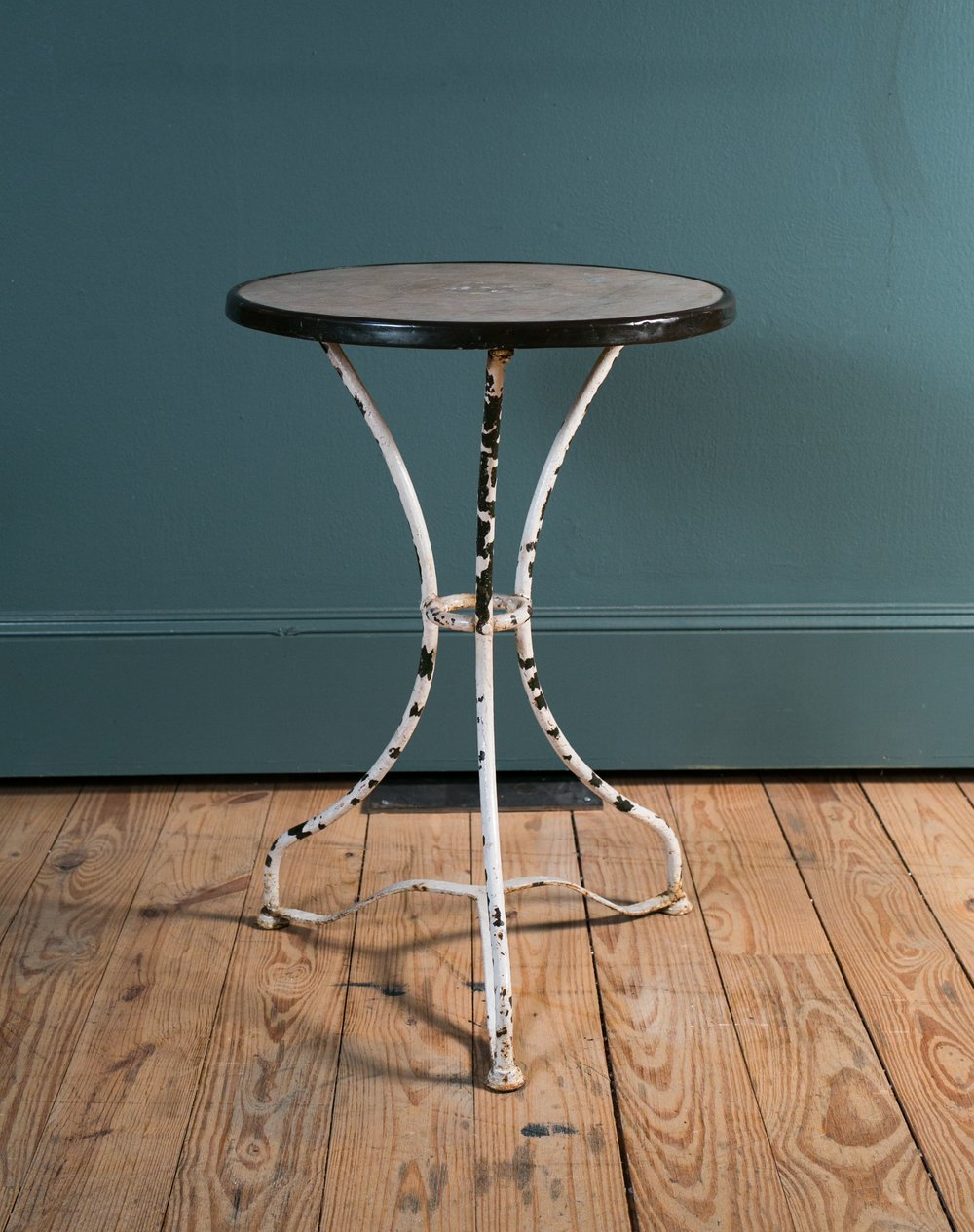 French Iron Bistro Table with Marble Top and Brass Band