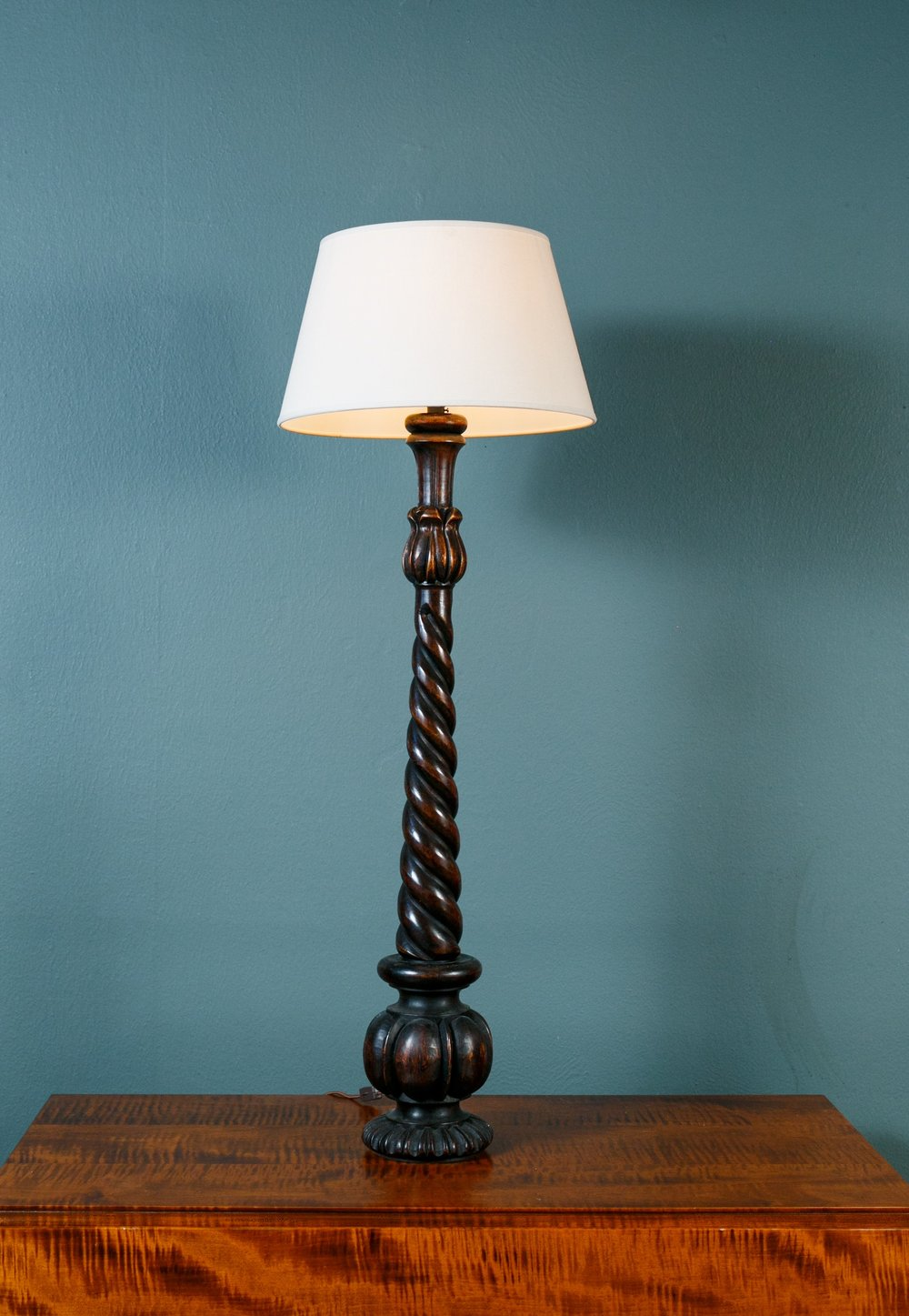 Hand-Carved Barley Twist Lamp with Linen Shade