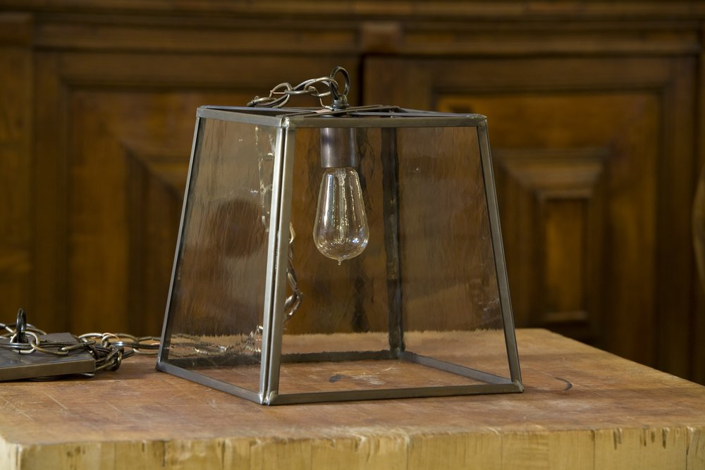 "American Trapezoid ""Preble"" Brass and Glass Lantern"