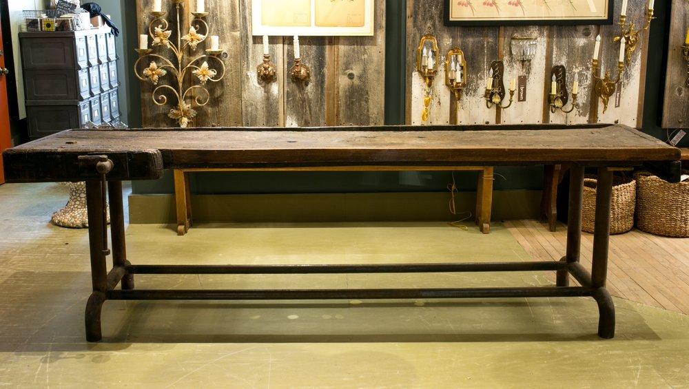 Refurbished Dutch Antique Work Bench