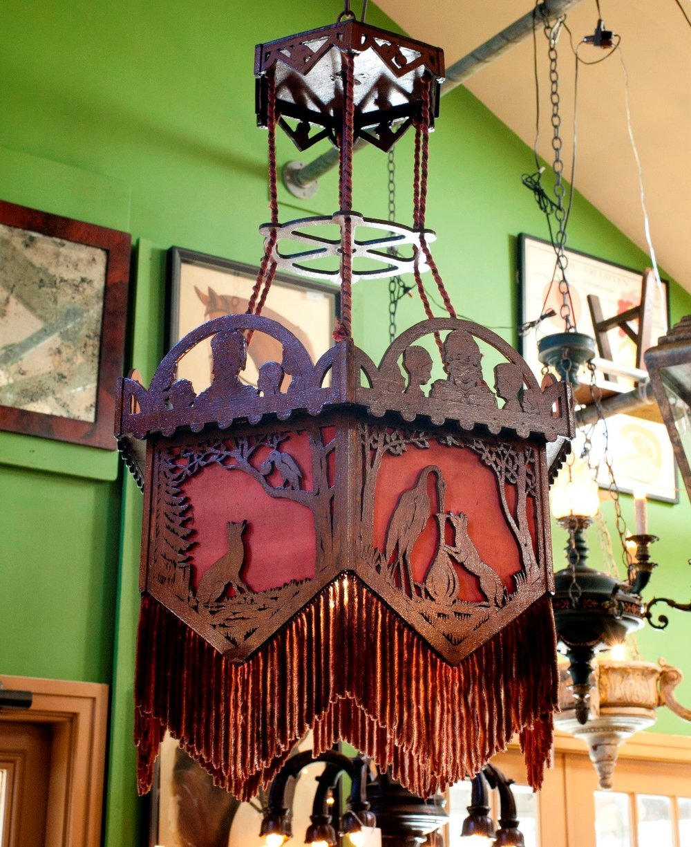 Antique Victorian Wood and Fabric Light