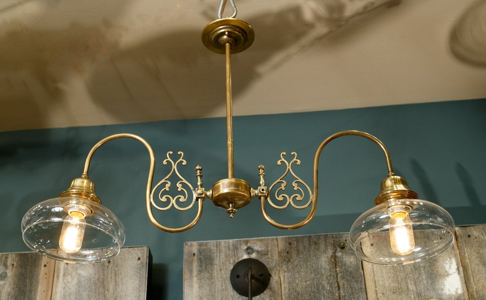 Pair of Vintage Belgian Brass and Glass Lights, Circa 1920